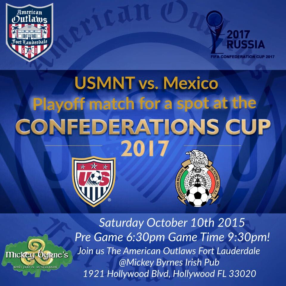 USA vs Mexico- Playoff For Confederations Cup Place | Mickey Byrne's
